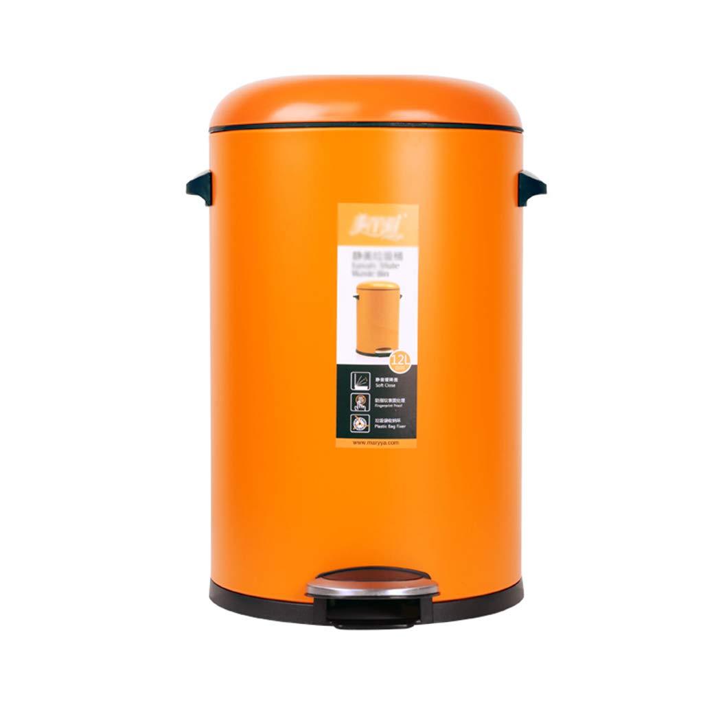 BTPDIAN Bote de Basura Tipo Pedal Bote de de Basura Circular de de Doble Capa Grande, Mediano y pequeño con Bote de Basura de Metal (Color : Naranja, Tamaño : 5L) 4c327a