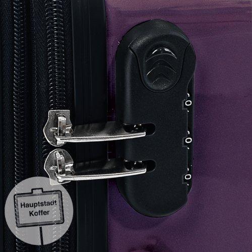 HAUPTSTADTKOFFER® Hartschalen Koffer · 3 Koffergrößen (42 Liter · 74 Liter · 119 Liter) · Hochglanz · Entweder mit Normalen oder TSA Zahlenschloss + DESIGN KOFFERANHÄNGER (SET, Aubergine)