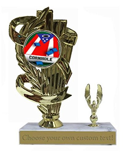 (Cornhole Patriotic Marble Base Trophy Award)