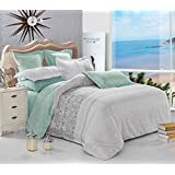 Grey Teal Duvet Cover Set Queen, Reversible with Gray and Turquoise, Soft Microfiber Bedding with Zipper Closure (3pcs, Queen Size)