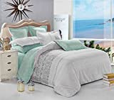Gray Duvet Cover Set, Reversible with Grey Teal Turquoise, Soft Microfiber Bedding with Zipper Closure (3pcs, Full Size)