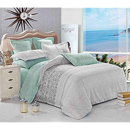Wake In Cloud   Gray Duvet Cover Set, Reversible With Grey Teal Turquoise,  Soft Microfiber Bedding With Zipper Closure (3pcs, Twin Size)