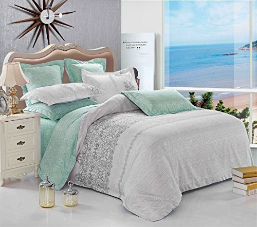 Gray Duvet Cover Set, Reversible with Grey Teal Turquoise, Soft Microfiber Bedding with Zipper Closure (3pcs, Queen Size) (Colored Teal Sets Bedding)