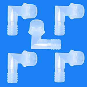 "JoyTube Plastic Hose Barb Fittings Elbow 1/4"" Hose Barb x 1/8"" Male NPT Pipe Connectors Joint Splicer Mender Adapter Union for Boat Aquarium(Pack of 5)"