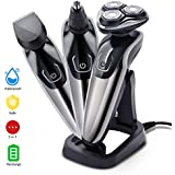 Pretfarver Electric Razor Shaver for Men Wet and Dry 3D Men's Rotary Shavers Ear and Nose Hair Trimmer Cordless Rechargeable