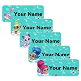 Shimmer and Shine Theme Original Personalized Peel and Stick Waterproof Custom Name Tag Labels for Adults, Kids, Toddlers, and Babies – Use for Office, School, or Daycare