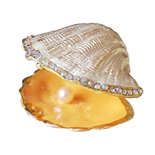 - Beige Pearl Mussel Hinged Clam Trinket Box Wedding Ring Holder Metal Seashell Figurine