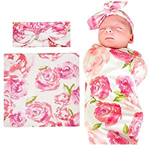 Newborn Baby Swaddle Blanket and Headbands Set Soft Floral Wrap Receiving Blankets for Spring Summer