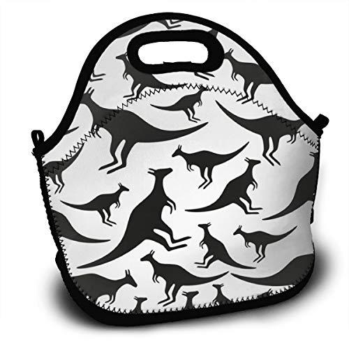 Dejup Lunch Bag Black Kangaroo Tote Reusable Insulated