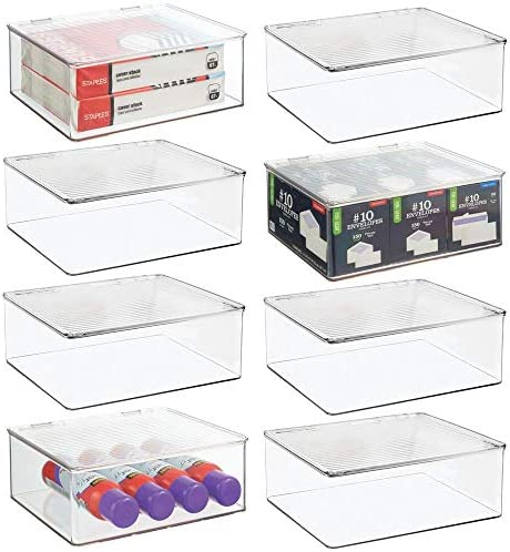 mDesign Plastic Stackable Home, Office Supplies Storage Organizer Box with Attached Lid – Holder Container Bin for Note Pads, Gel Pens, Staples, Dry Erase Markers, Tape – 8 Pack – Clear