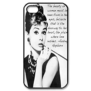 DIY High Quality Case for Iphone 4,4S, Audrey Hepburn Quotes Phone Case - HL-539140