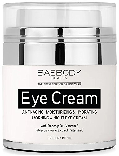 Baebody Eye Cream Rosehip Hibiscus for Appearance of Fine Lines, Wrinkles, Dark Circles, and Bags - for Under and Around Eyes - 1.7 fl oz ()