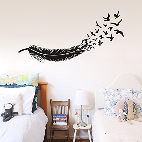 FlyWallD Birds of a Feather Wall Decal Flying Birds Vinyl Art Stickers Living Room Bedroom headboard Decor]()
