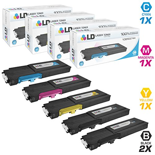LD Compatible Toner Cartridge Replacement for Xerox WorkCentre 6655 High Yield (2 Black, 1 Cyan, 1 Magenta, 1 Yellow, 5-Pack)