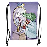 Custom Printed Drawstring Sack Backpacks Bags,Cartoon,A Crocodile Knotting His Tie Looks in Mirror and Sees Himself As Sheep Fun Cartoon,Puple Green Soft Satin,5 Liter Capacity,Adjustable String Closu