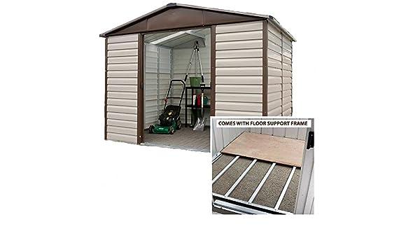 Yardmaster cobertizo (10 x 8 Apex Metal caseta de jardín con marco de suelo de acero: Amazon.es: Jardín