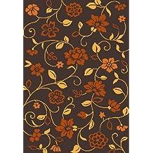 Frieze 0X105 Burnt Orange, Dark Brown and Golden-Yellow Flower Print 5x7 (5'3x7'4) Area Rug