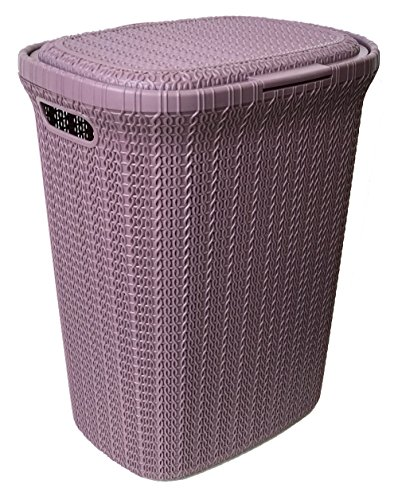 Rattan Laundry Hampers - Wee's Beyond W08-1076-DK.Llc Knit Style Laundry Hamper 55 Liters, Dark Lilac