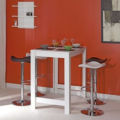 CURRY Table bar L110 cm piétement + plateau blanc