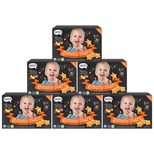 Nosh Gummy Stars Organic Fruit & Veggie Chews Toddler Snack, 5 Snack Packs, Apple, Banana & Sweet Potato (Pack of 6) For Sale