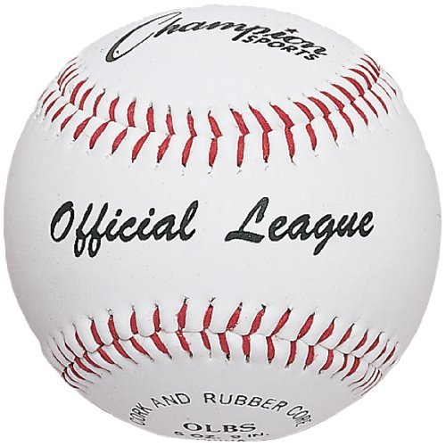 Synthetic Leather Baseball (Champion Sports Leather Baseball Set: Dozen Indoor / Outdoor Synthetic Leather Official League Baseballs for Practice Training or Real Game - OLBS Pack of 12)