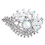 ACCESSORIESFOREVER Women Bridal Wedding Jewelry Crystal Rhinestone Classy Brooch Pin BH178 Silver