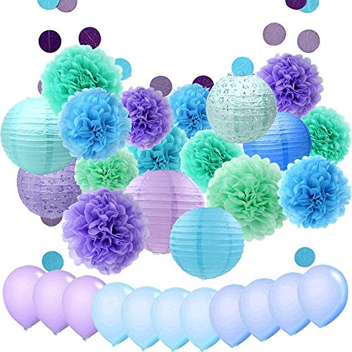 light blue and green paper poms - 3