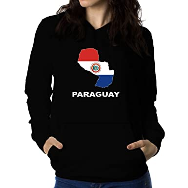 Teeburon Paraguay Country Map Color Sudadera con capucha ...