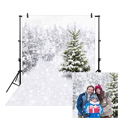 Allenjoy 5x7ft White Snow Forest Backdrop for Portrait Photography Studio Snowflakes Snowy Trees Winter Wonderland Holiday Festival Chirtsmas Xmas Background Banner Kids Family Photo Booth Props