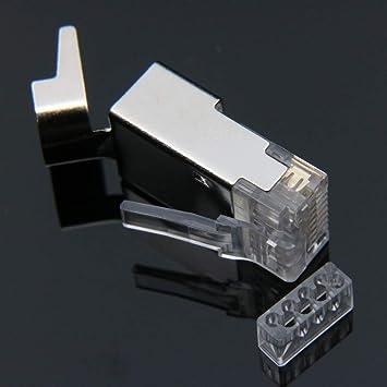 Cable Length: 50pcs ShineBear rj45 Connector ethernet Cable Plug cat7 cat6a Male Network Metal Shielded 50u cat 7 8P8C STP LAN Modular terminals