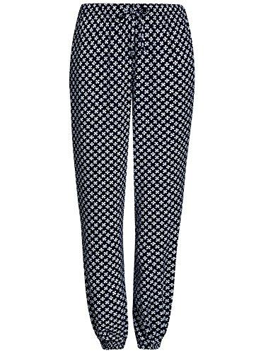 oodji Ultra Mujer Pantalones Ligeros de Viscosa con Cintura Elástica Azul (7910O)