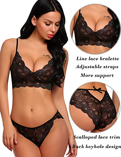 6ab79435d ADOME Women s Lace Lingerie Bra and Panty Set Strappy Babydoll Bodysuit  Black S