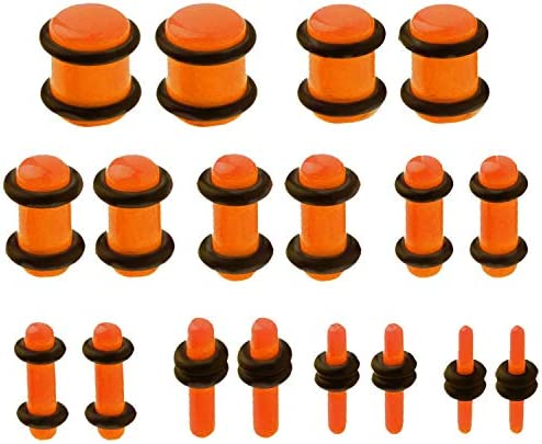 Tapers with Plugs Kit 6G-00G Black Taper with Silicone Plugs Orange 6G-00G Stetching Kit 20 Pieces