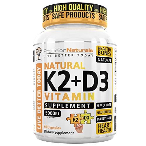 Vitamin K2 D3 MK7 Capsules 100mcg 5000iu 60 Vegetarian Capsules Supports Strong Healthy Bones Plus Heart Health Supplement Non GMO Natural Calcium Absorption - Premium Formula Easy Swallow Vitamins
