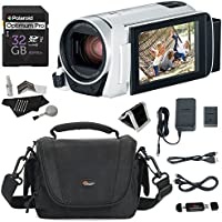 Canon Vixia Hf R800 White A Camcorder Kit, Polaroid 32GB Class 10 SD, Lowepro Bag, Cleaning Kit, Ritz Gear Card Reader and Accessory Bundle