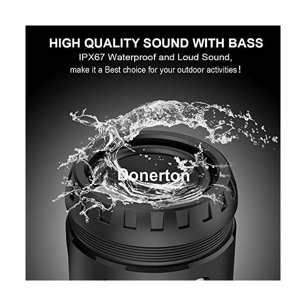 Enceinte Bluetooth Portable, avec Lampe Torche LED, 5200mAh Powerbank, 30H en Lecture, Basses Puissantes, IPX67 Waterproof, Mains Libres Téléphone, Enceintes Bluetooth sans Fil pour Camping, Cyclisme 2