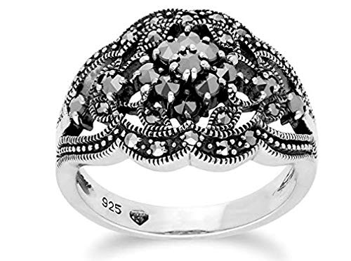 Gemondo Marcasite Ring, Sterling Silver Marcasite Cluster Ring (5)