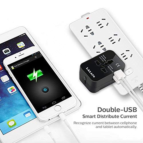 All in One International Universal Travel Adapter,Dual USB Charging Ports Converter for USA EU UK AUS European Compatible with Mobile Phone,Power Bank,Tablet,Laptop and Earphone. (Black) by LALAFO (Image #6)