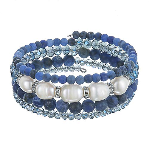 Beaded Freshwater Pearl Chakra Bracelet - Multi Strand Wrap Bracelet with Natural Crystal Agate Beads, Birthday Gifts for Women (Navy Blue) ()