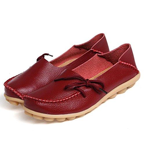 Eagsouni Mujeres Leather-up Casual Loafer Boat Zapatos Zapatos De Conducción Wine Red