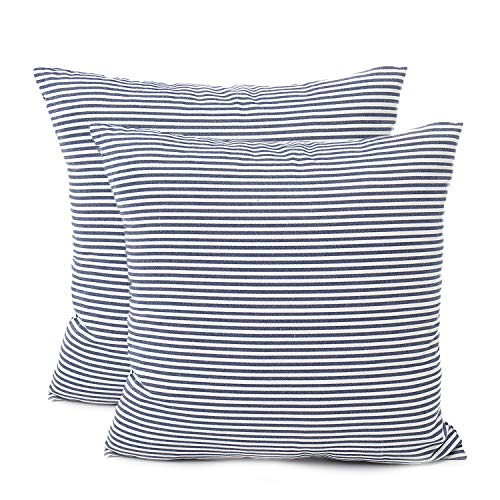 Blue Pillow Cover - COMHO Pack of 2, Cotton Woven Striped Throw Pillow Covers Set, Decorative Cushion Covers, Square Farmhouse Pillowcases, for Sofa Bedroom Car Chair 18x18 Inch/45x45 cm (Navy Blue)