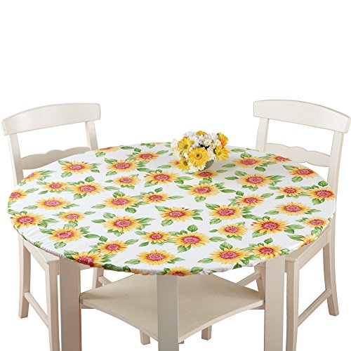 Fitted Elastic Table Cover Sunflower 48″ Round by Collections Etc