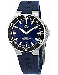 Aquis Date Mens Stainless Steel Automatic Diver Watch Swiss Made - 43mm Analog Blue Face Sapphire
