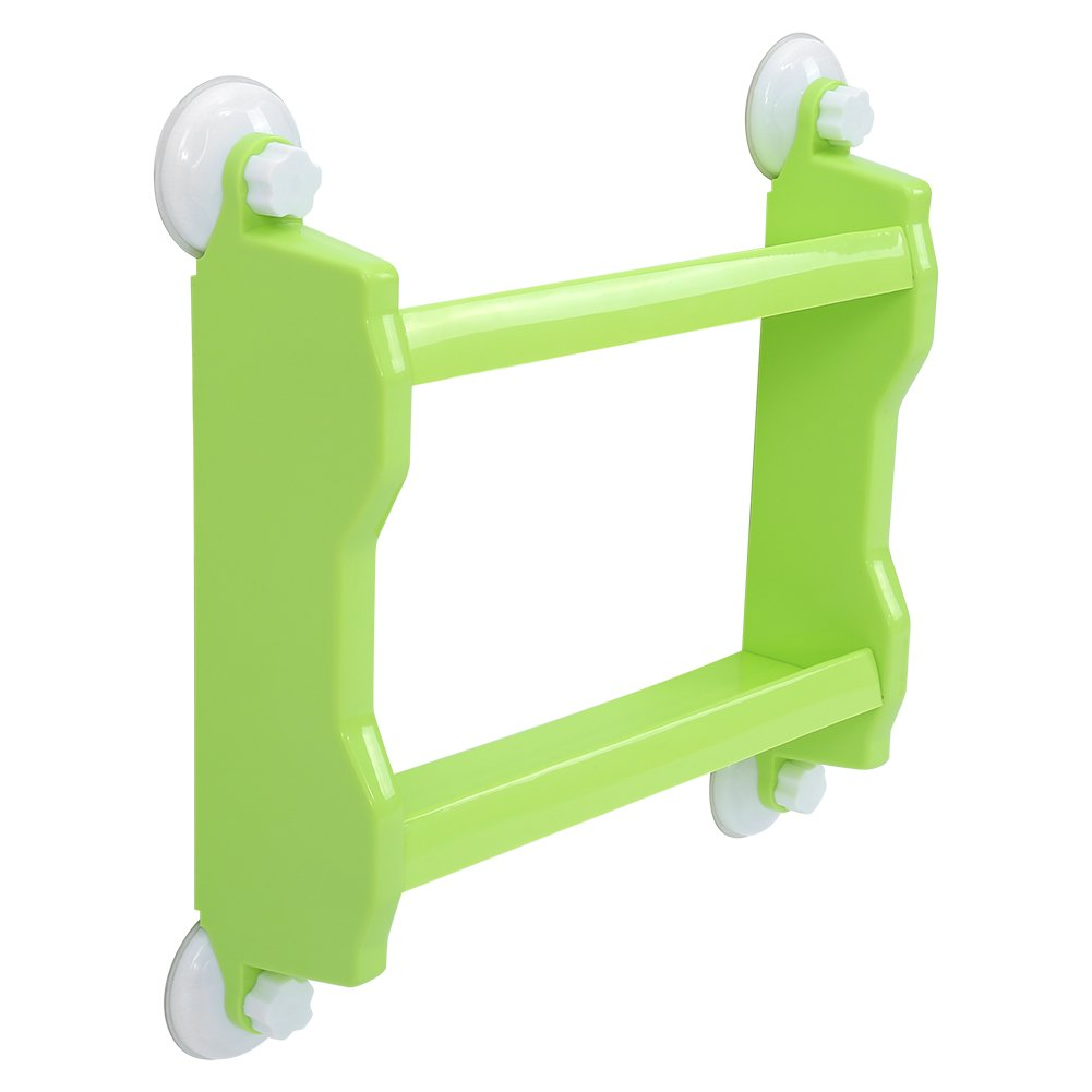 Delaman Bathroom Kitchen Double Tiers Strong Suction Cup Rack Organizer Holder Wall Mount Storage Shelf (Green)