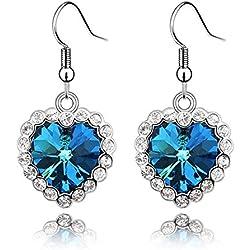 JD Million shop New ! Hot Fashion Fine Jewelry Classical Love Story Crystal Full Rhinestone Titanic Ocean The Heart Earrings For Women E-58