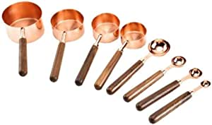 8 Pc. Rose Gold Stainless Steel Engraved Copper Measuring Cups and Spoons with Wooden Handles - Cookware Engraved Measurement Utensil Tools for Liquid and Dry Ingredients