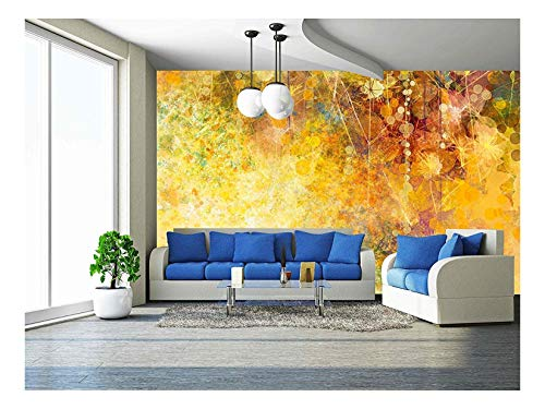 wall26 - Abstract Watercolor Painting, White Flowers and Soft Color Leaves - Removable Wall Mural | Self-Adhesive Large Wallpaper - 100x144 inches