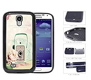 Mint Vintage Snapshot Camera With Rose Flower 2-Piece Dual Layer High Impact Rubber Silicone Cell Phone Case Samsung Galaxy S4 SIV I9500