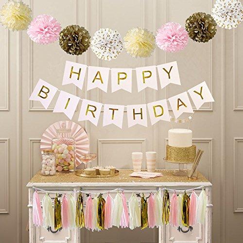 TheCraftyShop™ Pink Cream Glitter Gold Tissue Paper Pom Pom Tissue Paper Happy Birthday Banner Tassel Garland for Girls