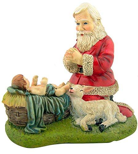 Kneeling Santa with Lamb Nativity of Christ Figurine Christmas Statue